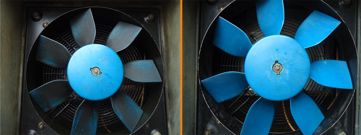 Commercial Fan Cleaning before and after